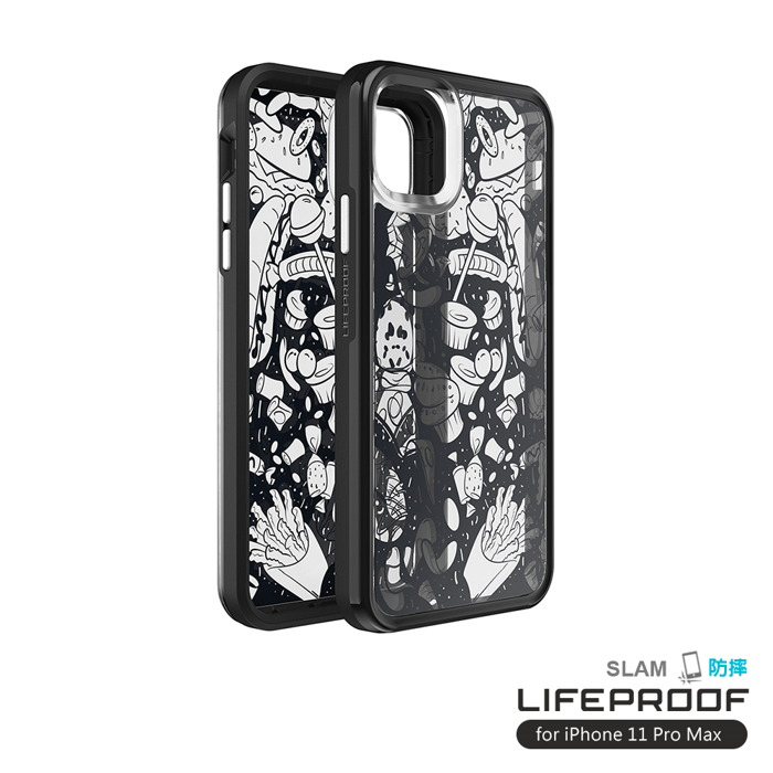 LIFEPROOF|iPhone 11 Pro Max (6.5吋)專用 吸震抗衝擊輕量防摔手機殼-SLAM(黑白彩繪/黑)