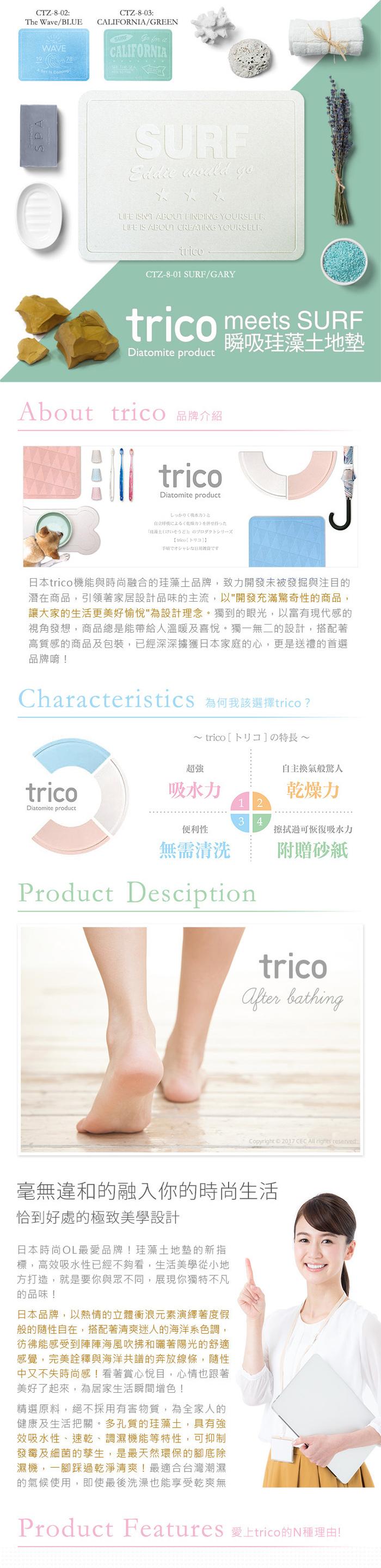trico|meets SURF瞬吸珪藻土地墊
