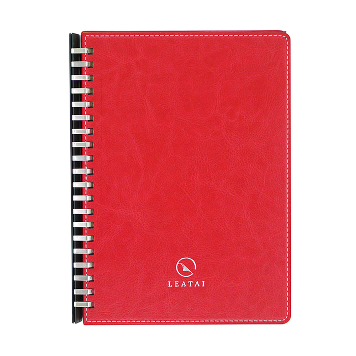 LEATAI 磊泰|歲月靜好 A5仿羊皮滑動夾活頁本 - 紅色1本+ 方格內頁補充包1本