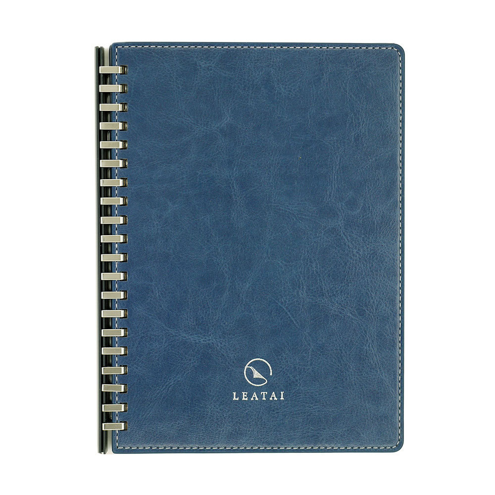 LEATAI 磊泰|歲月靜好 A5仿羊皮滑動夾活頁本 - 藍色1本+ 方格內頁補充包1本