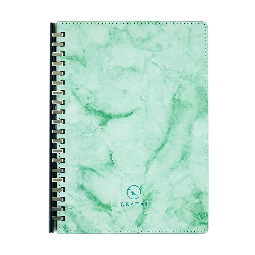 LEATAI 磊泰|戀戀風塵 A5大理石紋滑動夾活頁本 綠色1本+ 方格內頁補充包1本