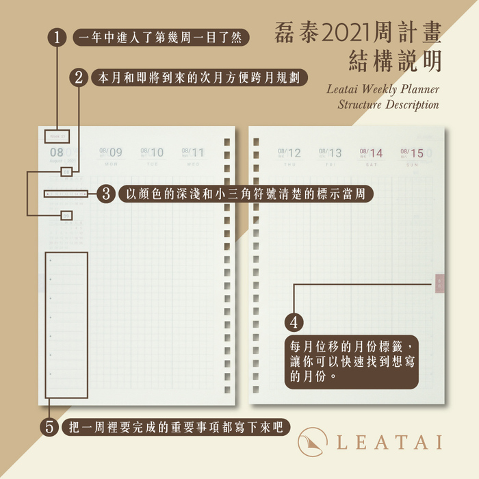 LEATAI 磊泰|A5 經典時效日誌-黑方裸背
