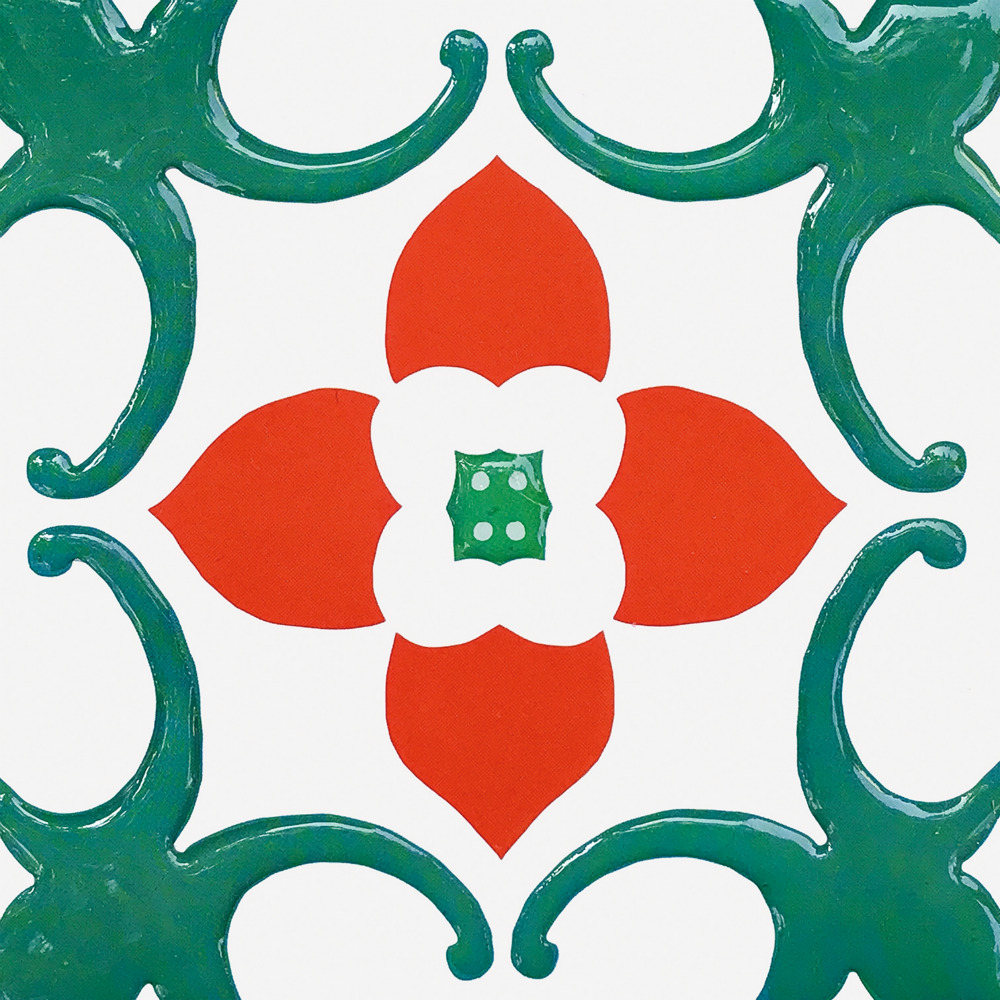 KNOWS&GOODS|台灣阿嬤家花磚貼紙 滿堂紅款