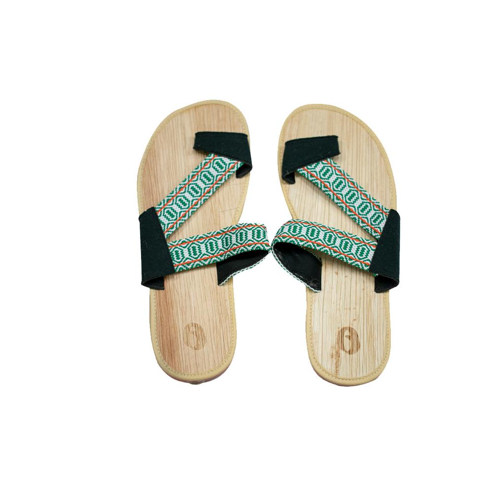 米麻岸工作室│草綠織帶檳榔鞘拖鞋女版#5-#9