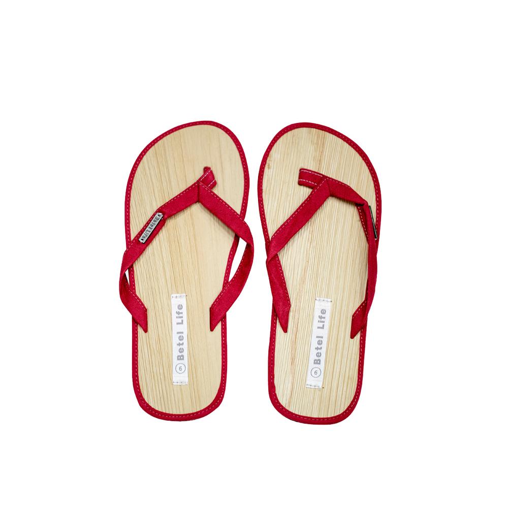 米麻岸工作室│極簡素色檳榔鞘拖鞋(紅)男女同版#5-#11
