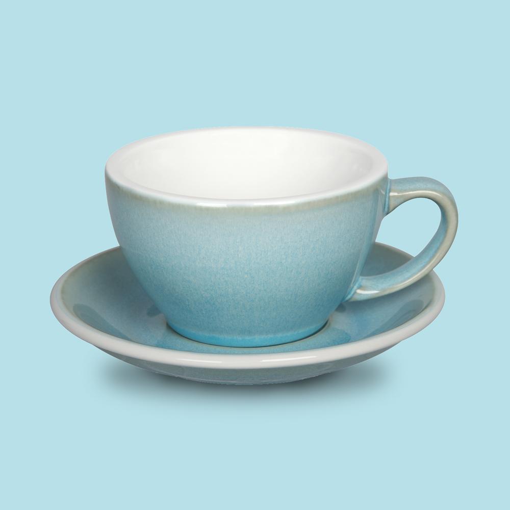 LOVERAMICS 愛陶樂 | 蛋形系列 300ml 拿鐵杯盤組 (職人色系) 冰湖色