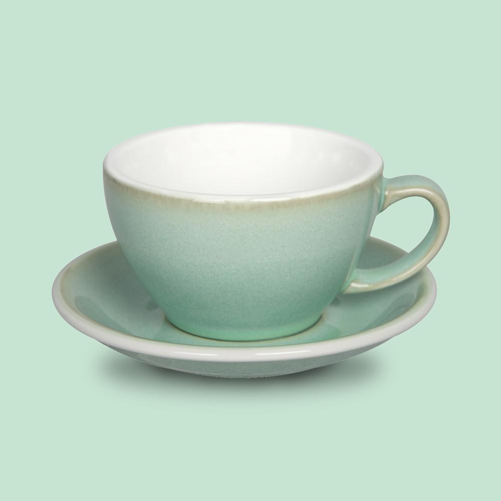 LOVERAMICS 愛陶樂   蛋形系列 300ml 拿鐵杯盤組 (職人色系) 羅勒色
