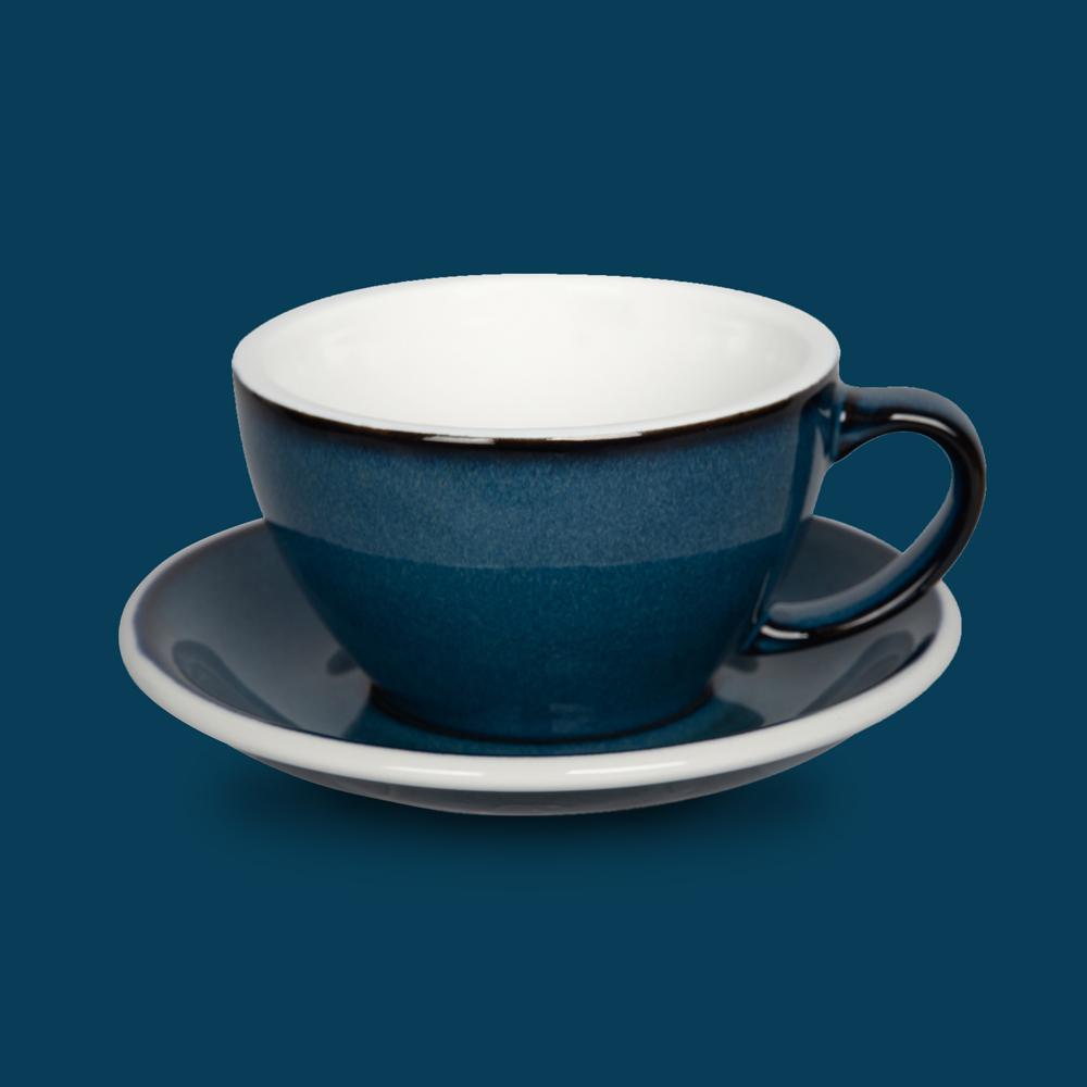 LOVERAMICS 愛陶樂   蛋形系列 300ml 拿鐵杯盤組 (職人色系) 夜空色