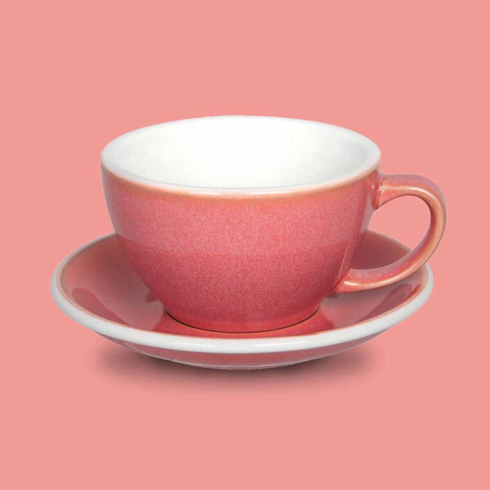 LOVERAMICS 愛陶樂 | 蛋形系列 300ml 拿鐵杯盤組 (職人色系) 莓果色