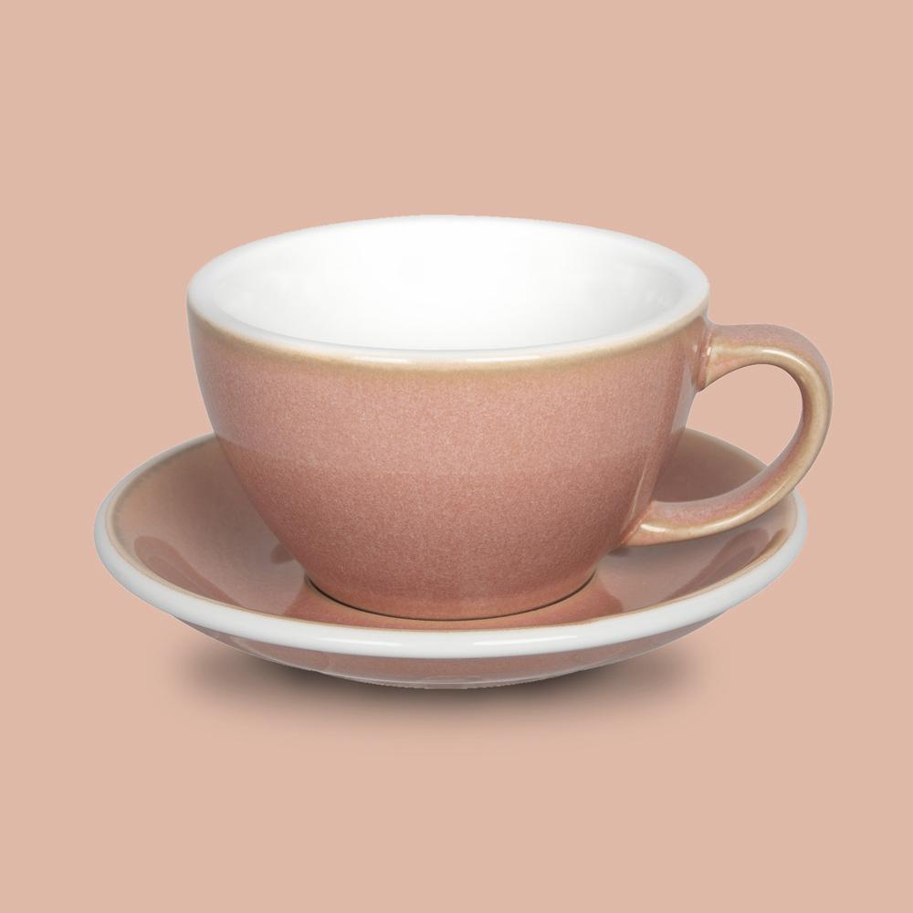 LOVERAMICS 愛陶樂 | 蛋形系列 300ml 拿鐵杯盤組 (職人色系) 玫瑰色