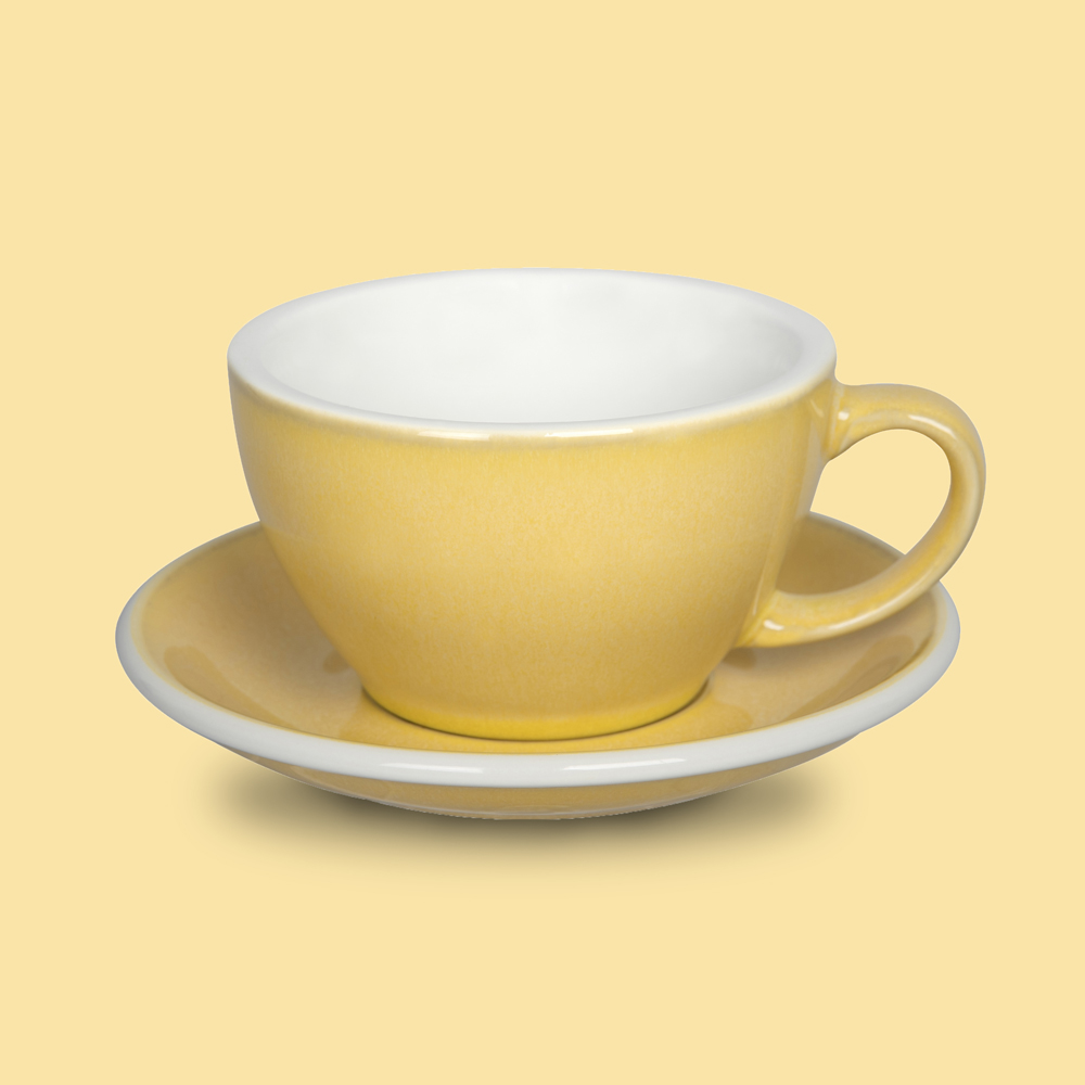 LOVERAMICS 愛陶樂 | 蛋形系列 300ml 拿鐵杯盤組 (職人色系) 晨曦色