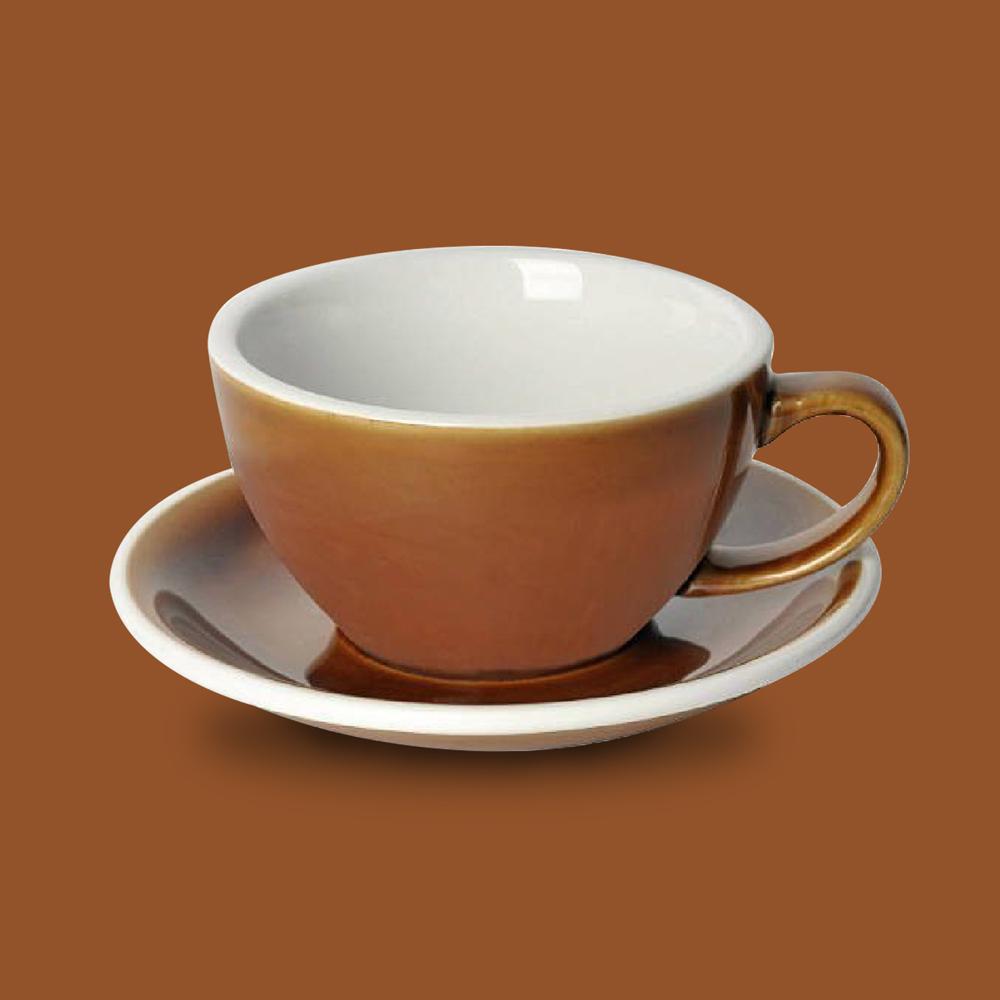 LOVERAMICS 愛陶樂   蛋形系列 300ml 拿鐵杯盤組 (職人色系) 焦糖色