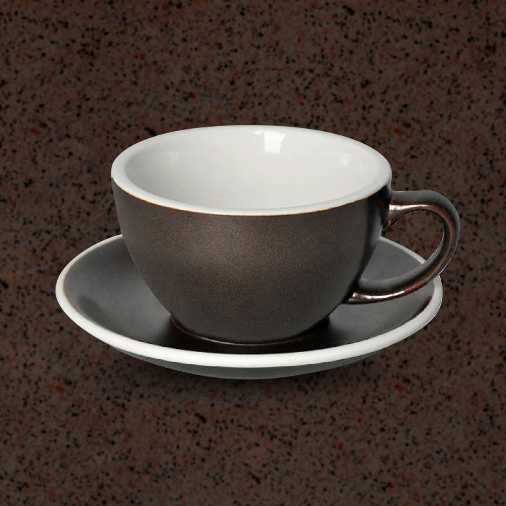 LOVERAMICS 愛陶樂   蛋形系列 300ml 拿鐵杯盤組 (職人色系) 火藥色