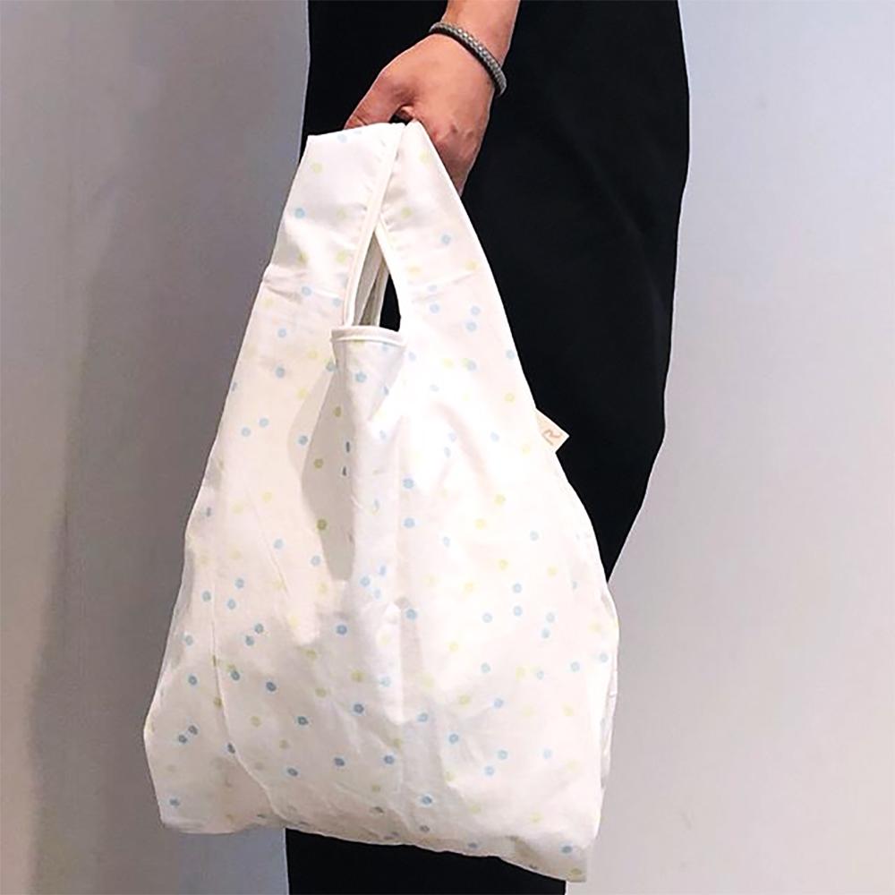 ROOTOTE|貓咪綿質背心購物袋 (藍綠點點)