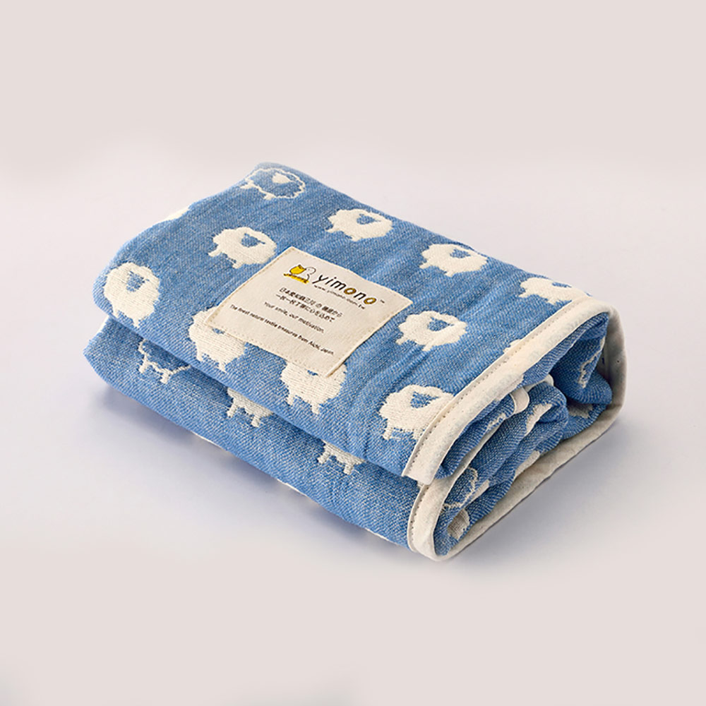Yimono|六層紗呼吸被 - 藍色綿羊 (薄款/ L)