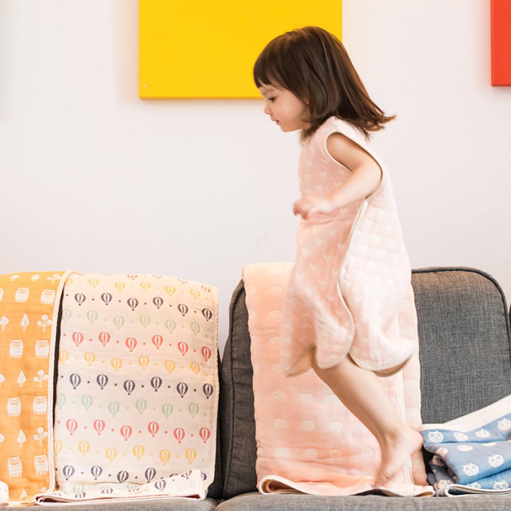 Yimono|六層紗防踢背心 - 粉紅愛心 (薄款/ 小)