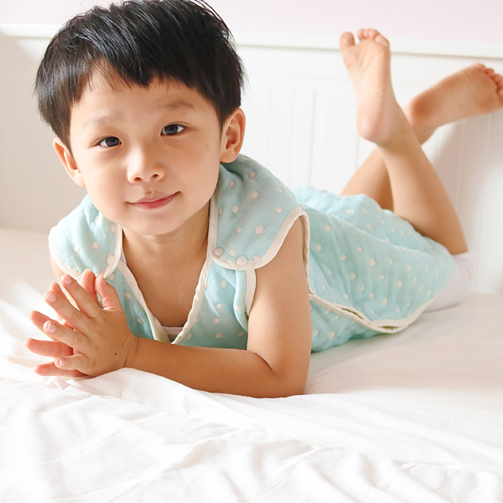 Yimono 六層紗防踢背心 - 藍色水玉 (薄款/ 特大)