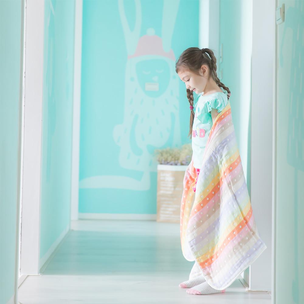Yimono|六層紗呼吸被 + 防踢背心優惠組 - 東瀛八色水玉 (薄款/ M+大)