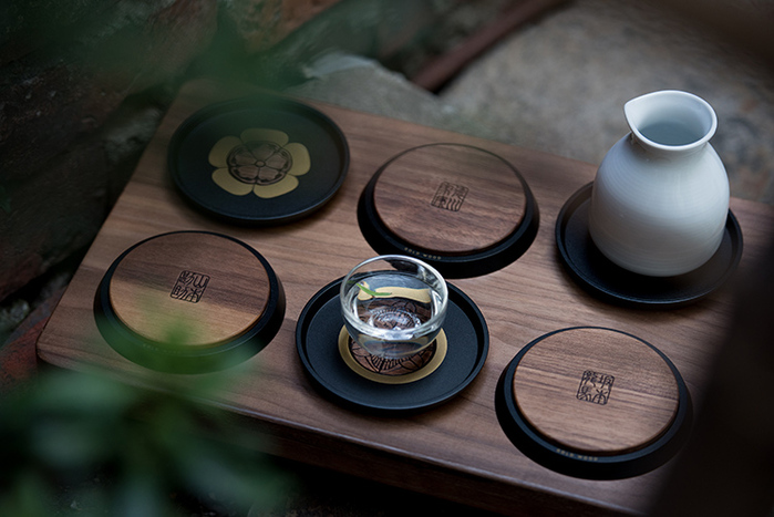 GOLD WOOD|日式家紋茶墊托盤套組 Kamon Coasters & Tray Set