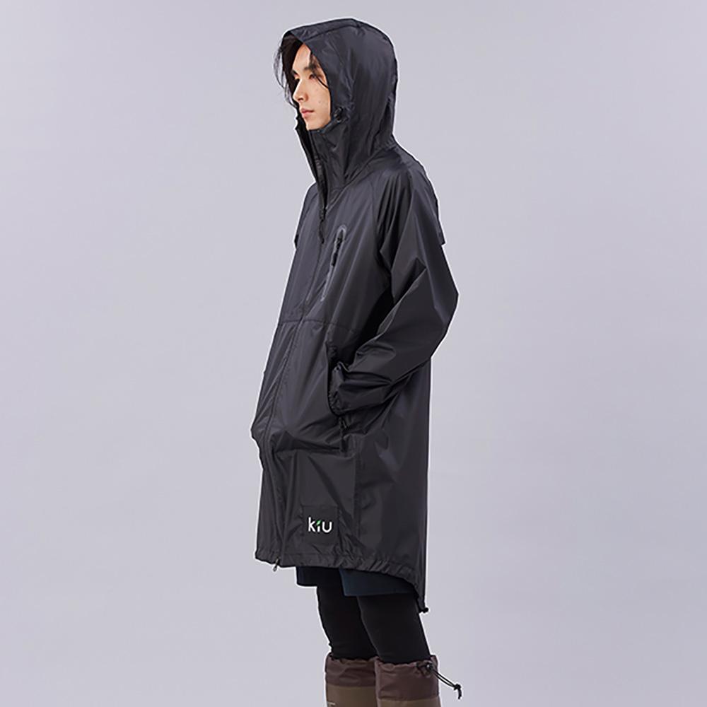 KiU|黑色 空氣感雨衣- 附收納袋(男女適用)