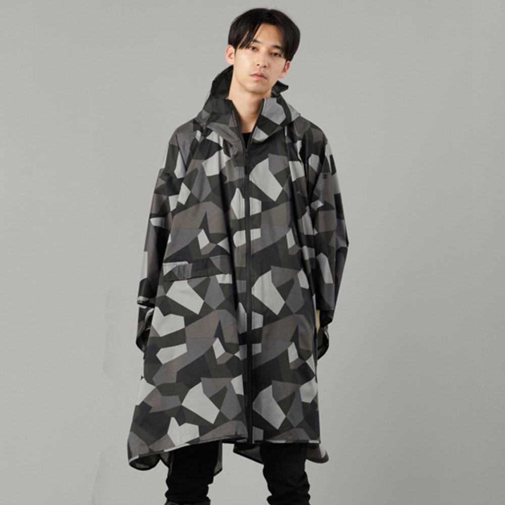 KiU|抽象迷彩 空氣感雨衣- 附收納袋(男女適用)