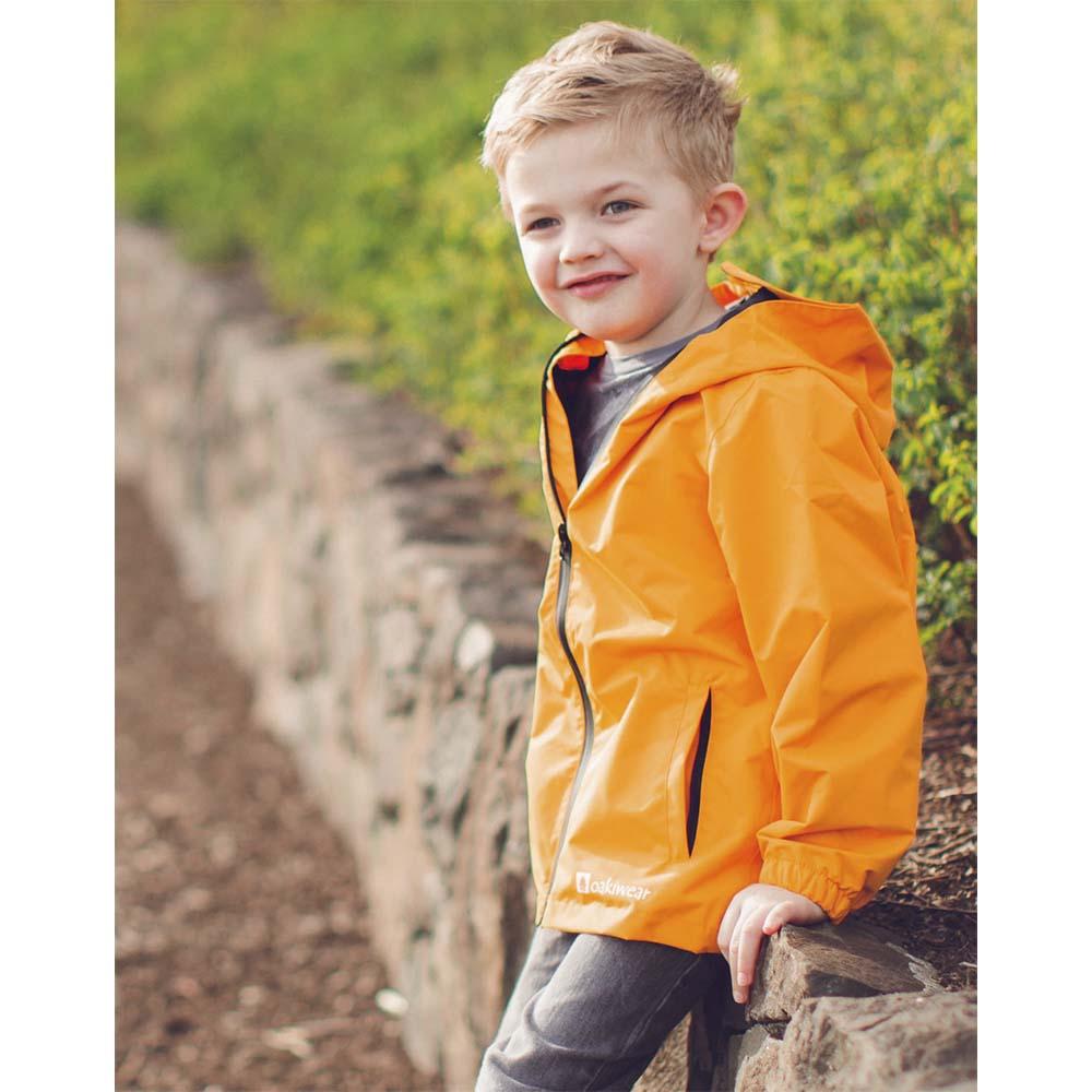 OAKI|兒童防水外套  火山橘