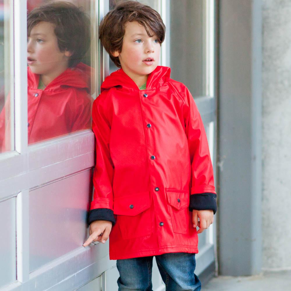 OAKI|兒童防水外套  紅黑配