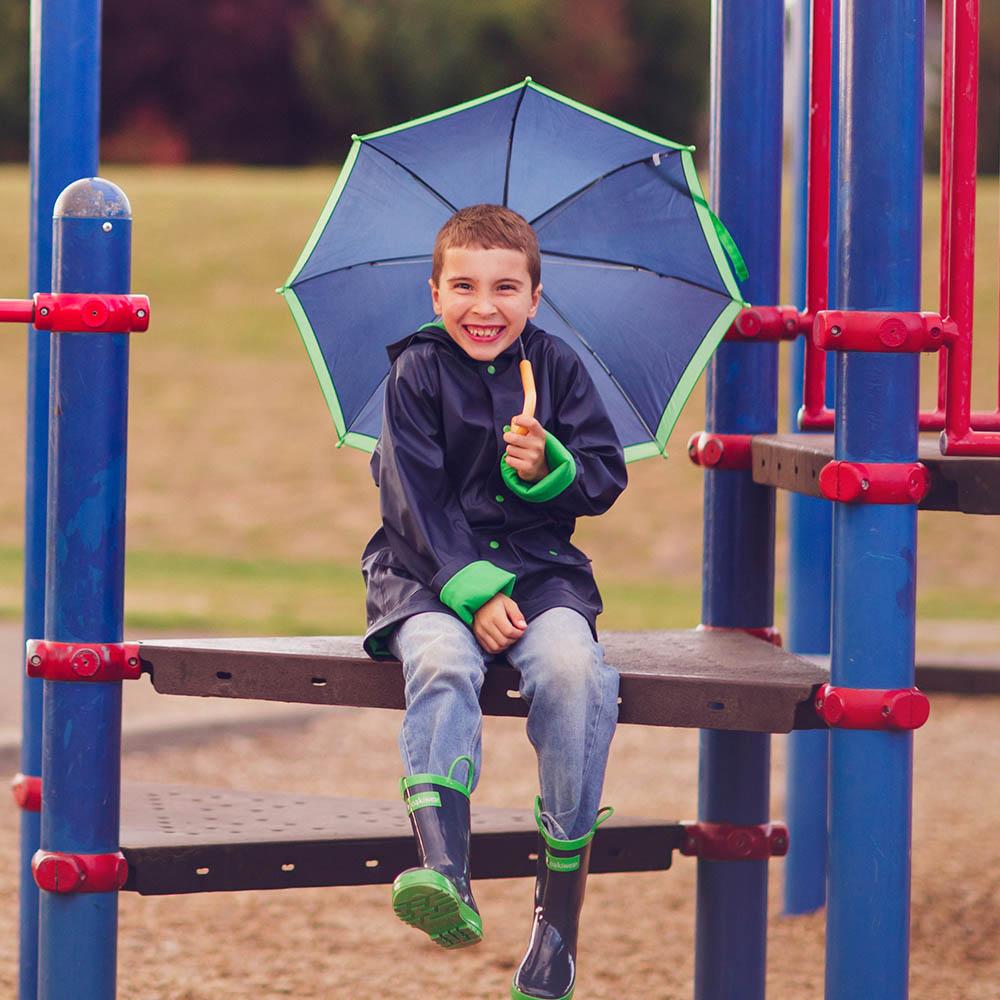 OAKI 兒童防水外套  藍綠配