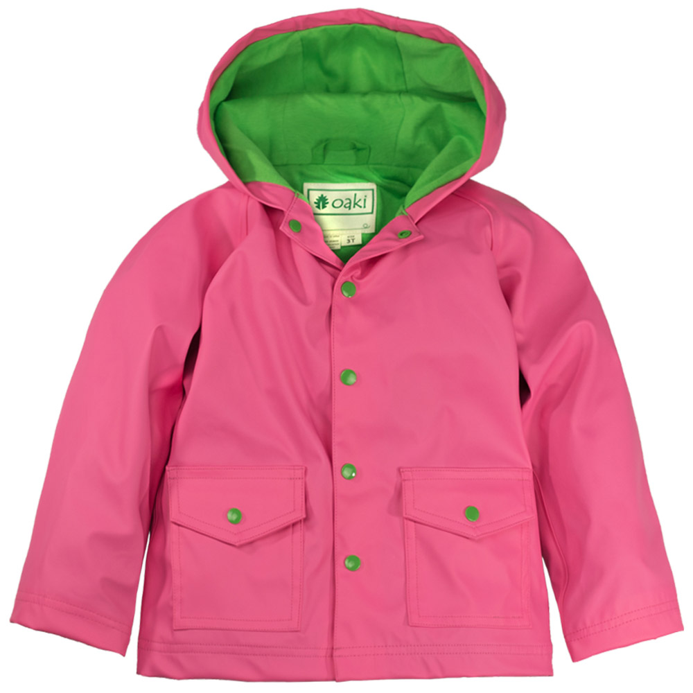 OAKI 兒童防水外套  粉綠配