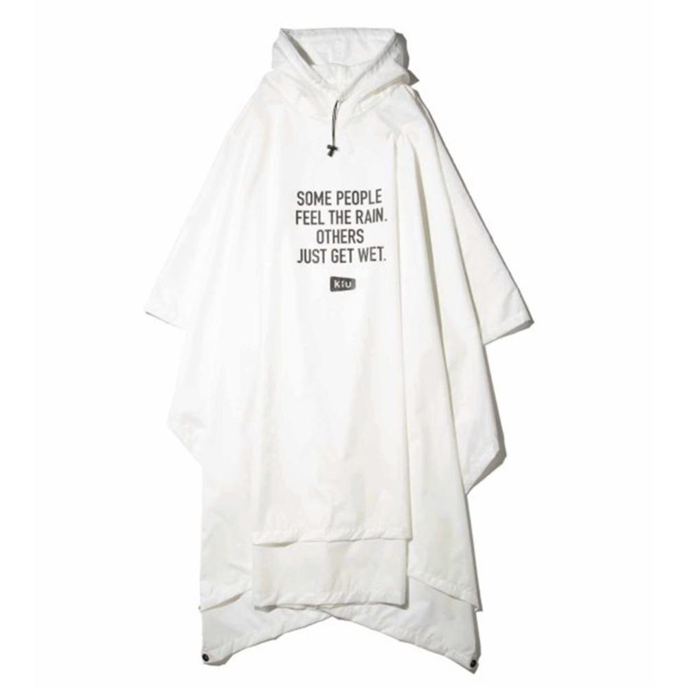 KiU 白色 超輕量成人斗篷雨衣(男女適用)