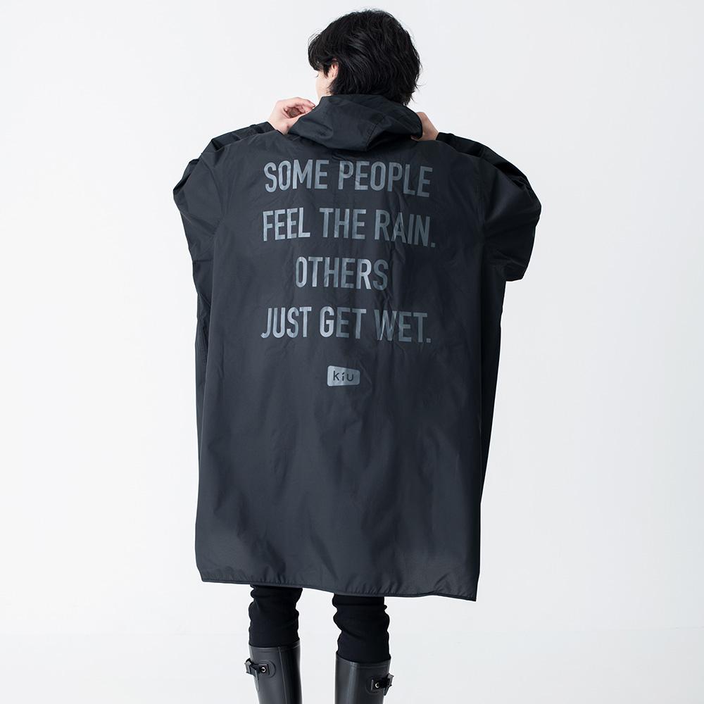KiU|黑色 空氣感長袖雨衣- 附收納袋(男女適用)