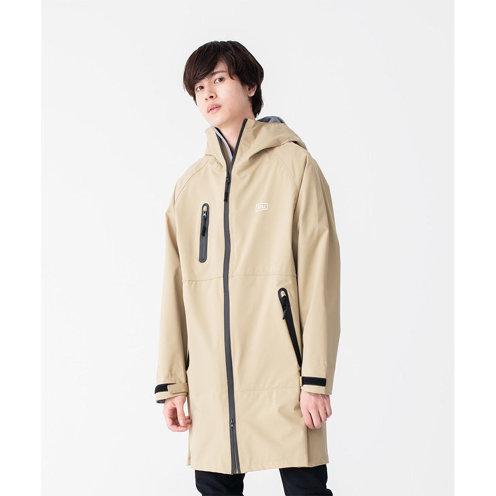 KiU|米色 多功能防雨外套- 附收納袋(男女適用)M
