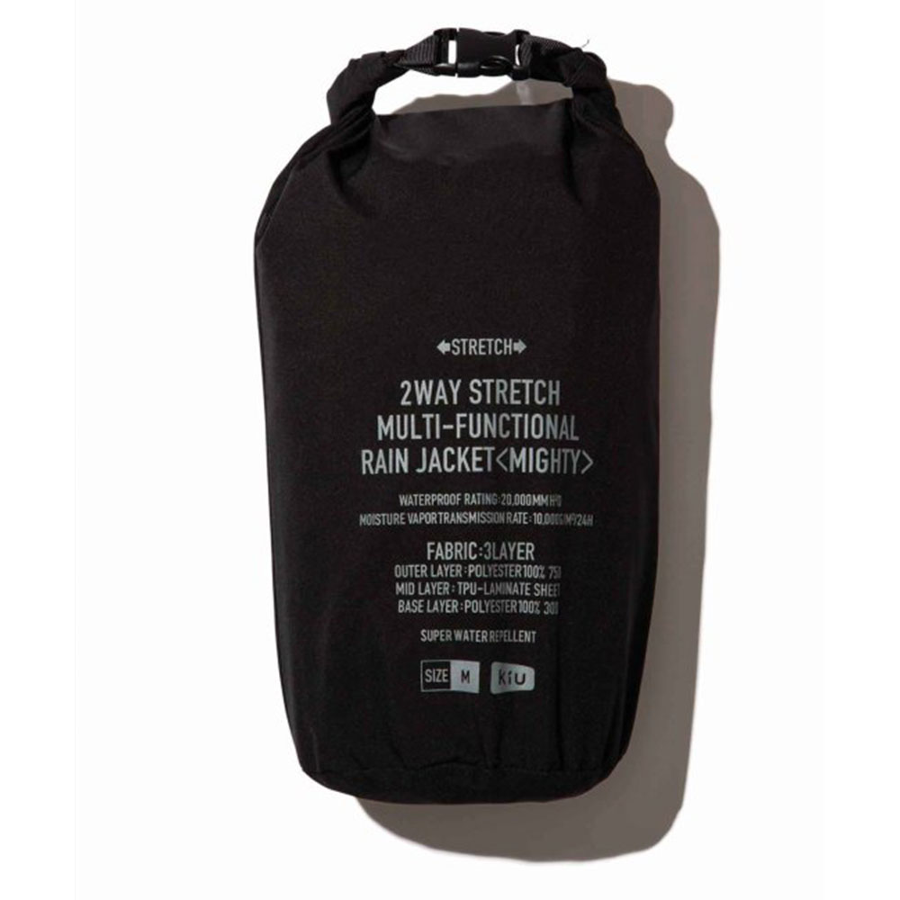 KiU|黑色 多功能防雨外套- 附收納袋(男女適用)M