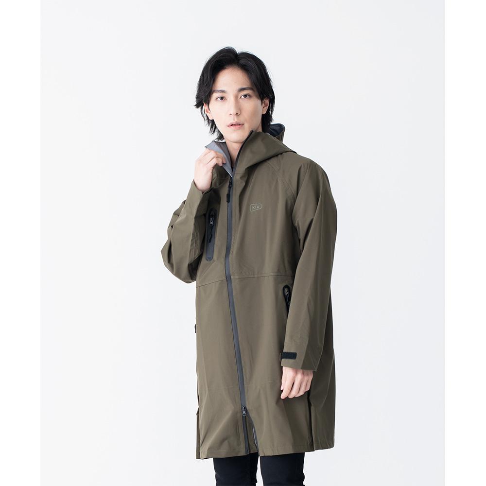 KiU|軍綠色 多功能防雨外套- 附收納袋(男女適用)L