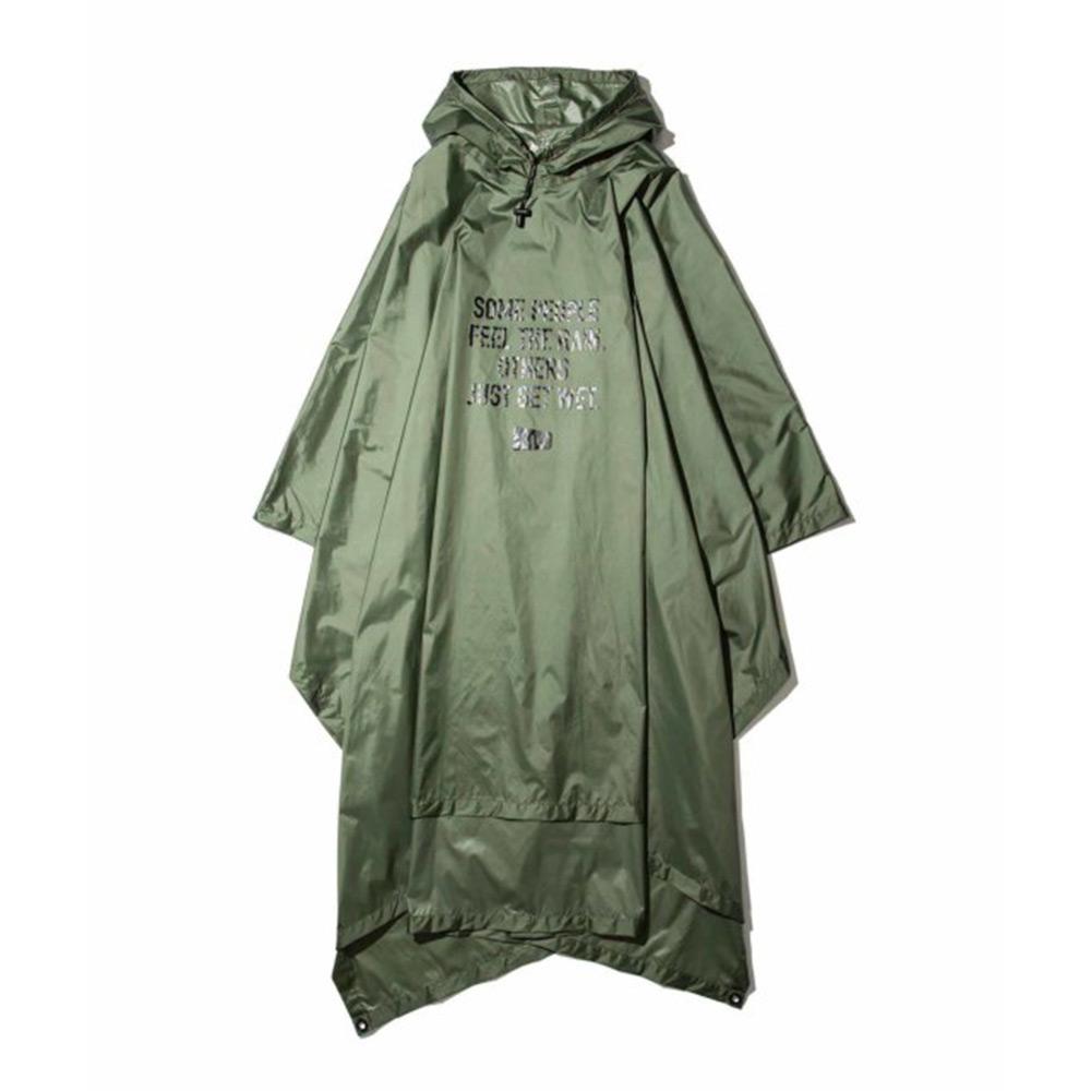 KiU|軍綠色 超輕量成人斗篷雨衣(男女適用)