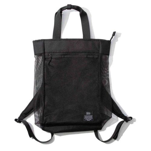 KiU|黑色 側背後背2用大容量托特包