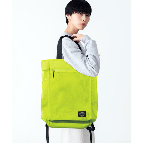 KiU|螢光黃 側背後背2用大容量托特包