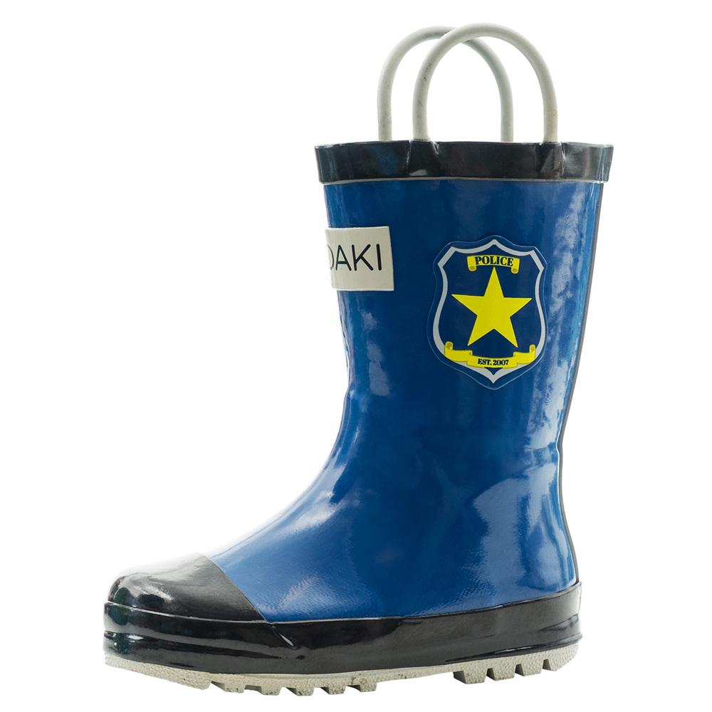 OAKI|兒童提把雨鞋 巡警藍