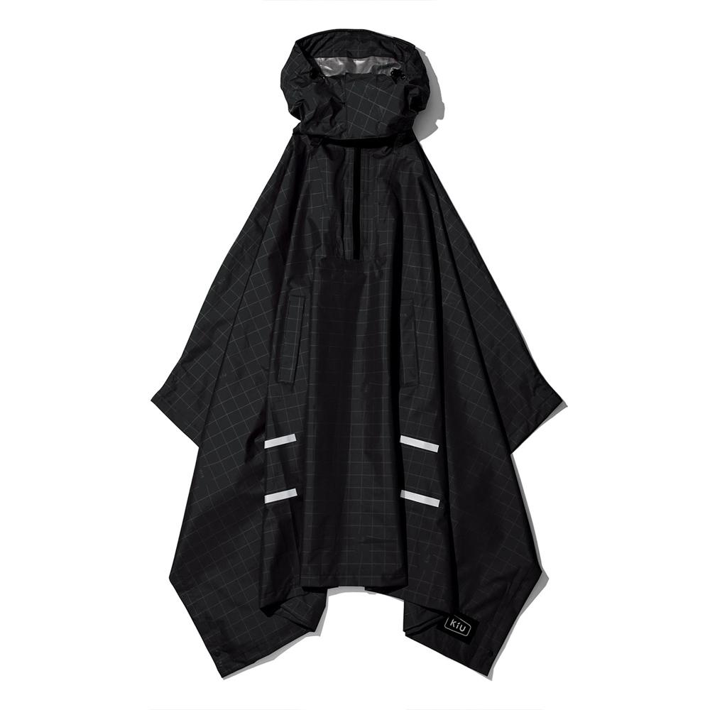 KiU|夜光格紋 機車/自行車雨衣斗篷 附收納袋(男女適用)