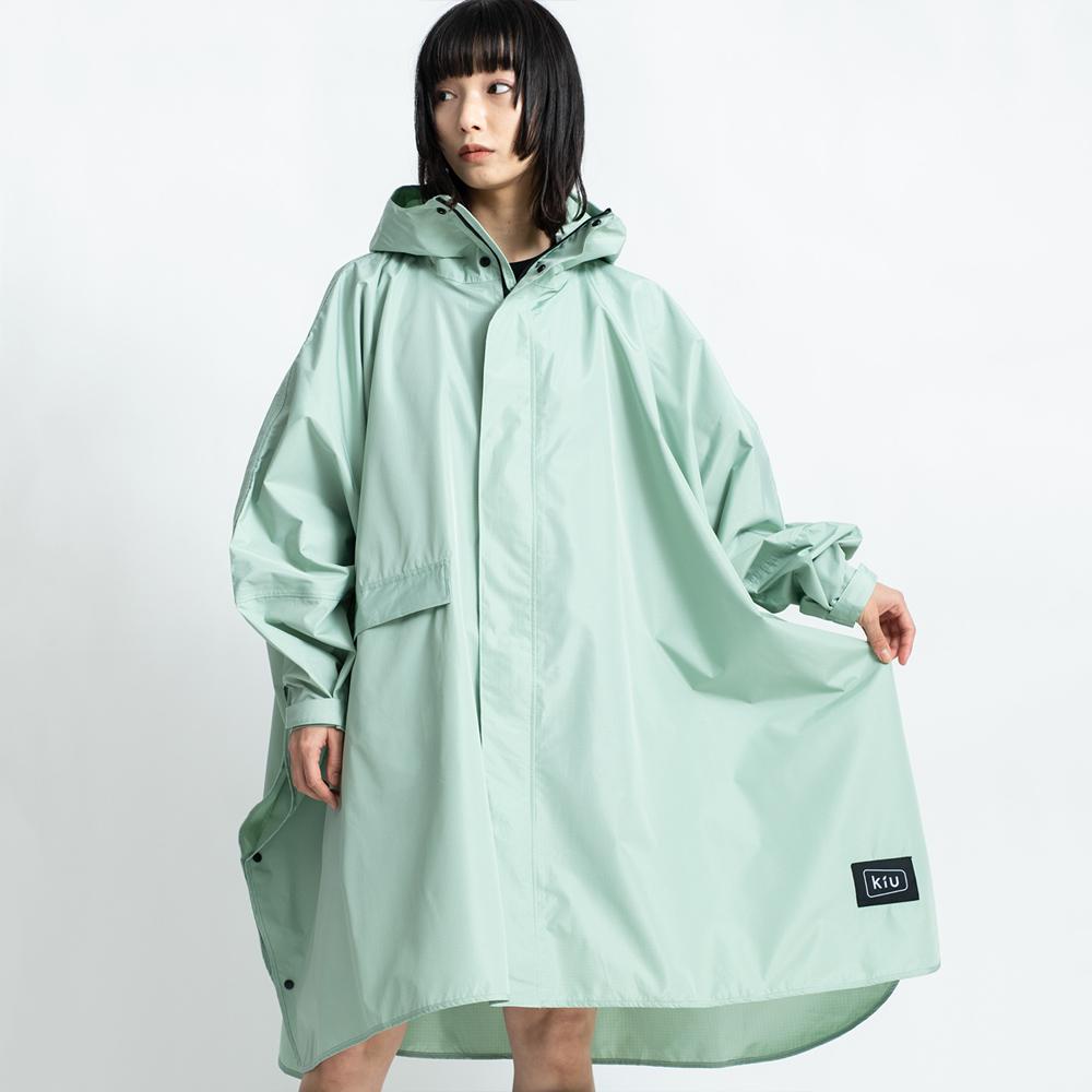 KiU|薄荷綠 標準成人空氣感有袖斗篷雨衣(男女適用)