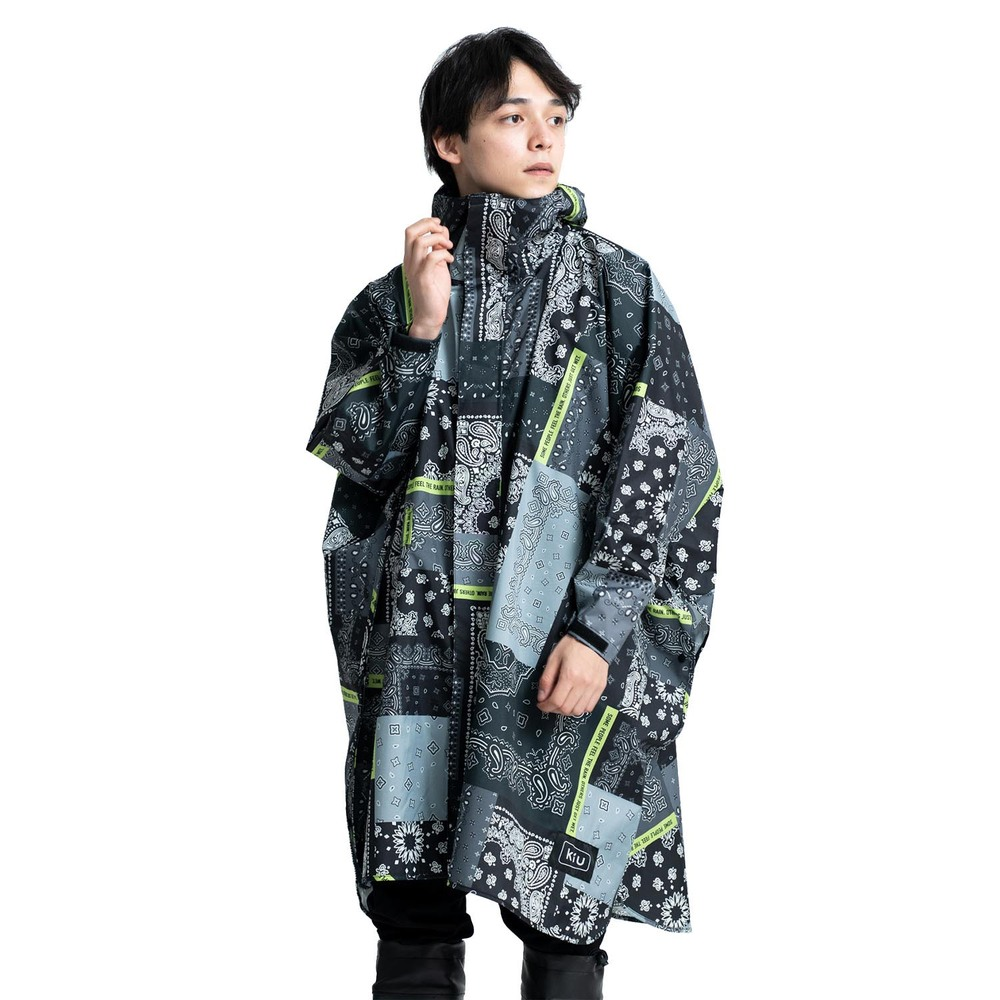KiU|Zakka拼布風 標準成人空氣感有袖斗篷雨衣(男女適用)