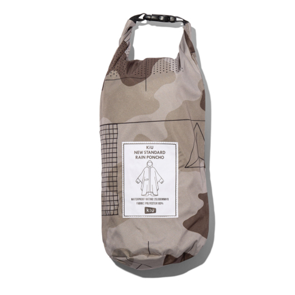 KiU|卡其迷彩 標準成人空氣感有袖斗篷雨衣(男女適用)