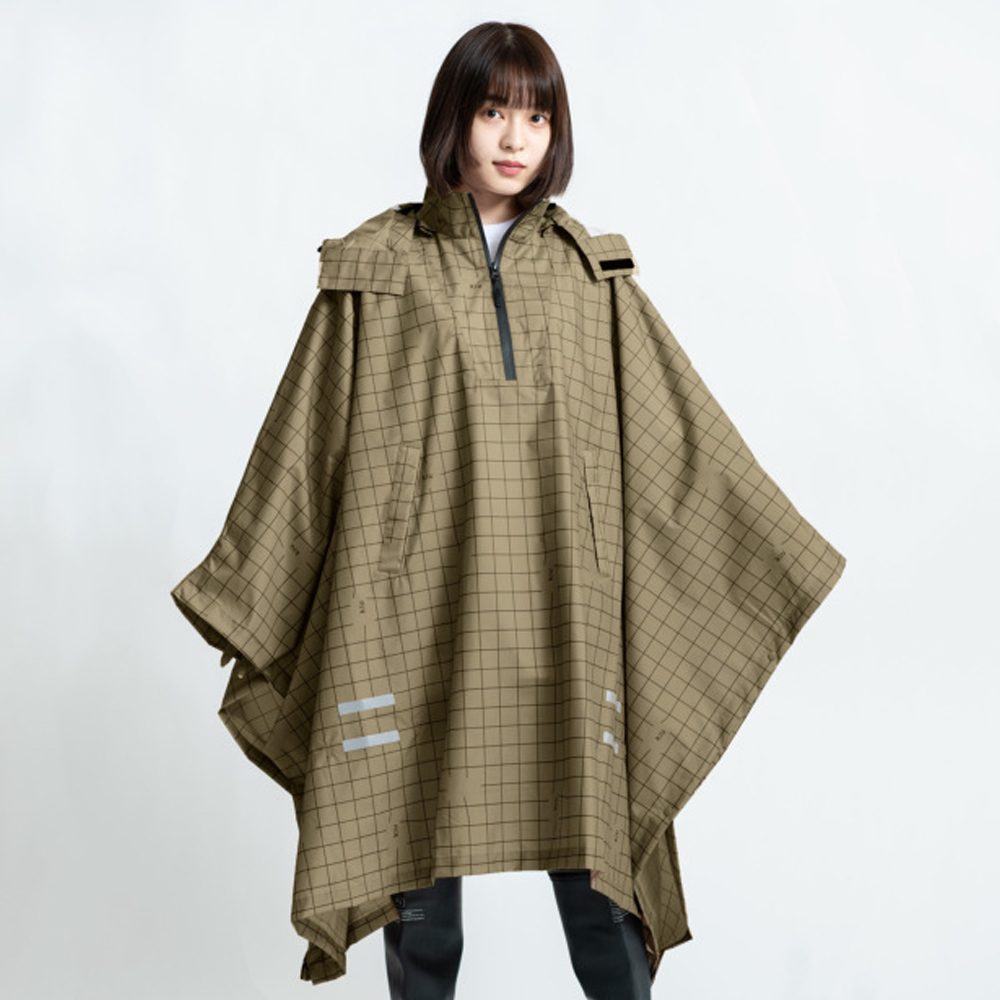KiU|卡其夜光格紋 機車/自行車雨衣斗篷 附收納袋(男女適用)