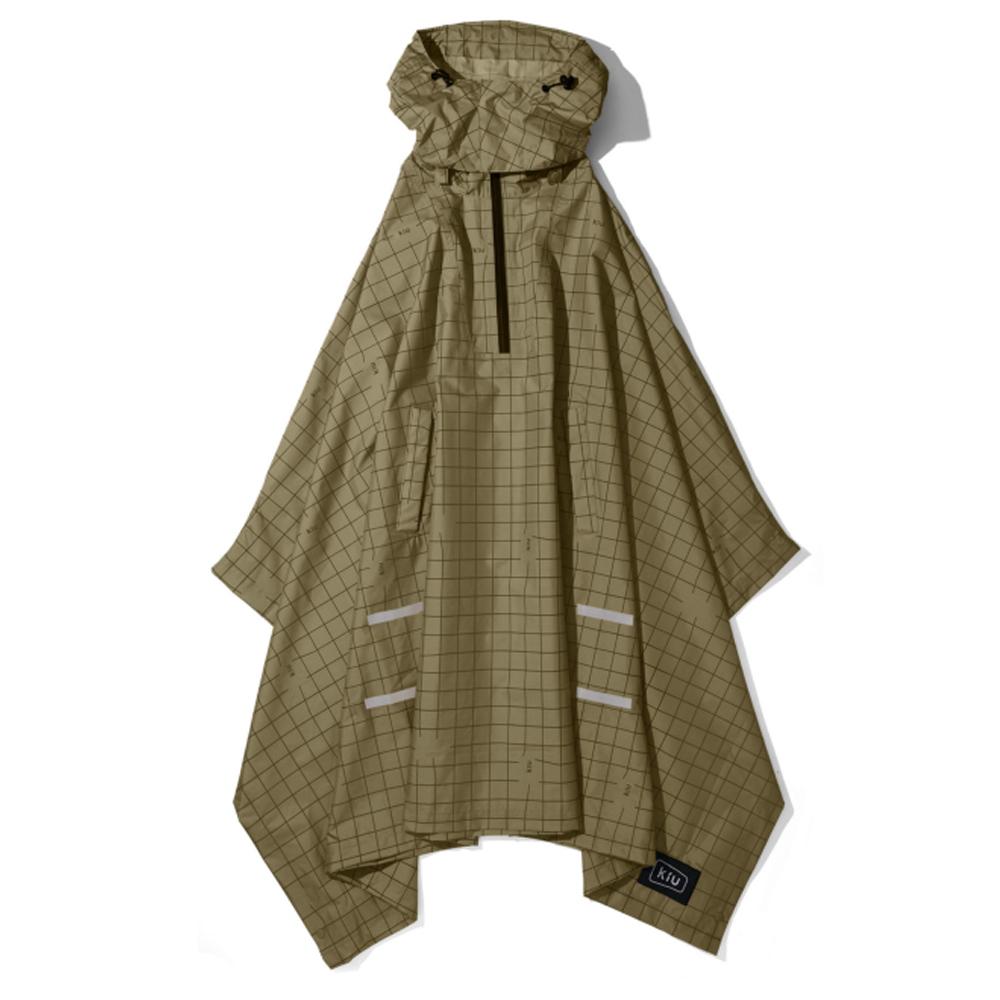 KiU 軍綠夜光格紋 機車/自行車雨衣斗篷 附收納袋(男女適用)
