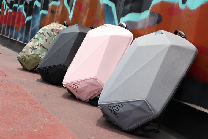 SHIELD|科技時尚 搖滾音響防盜後背包-粉紅甜心