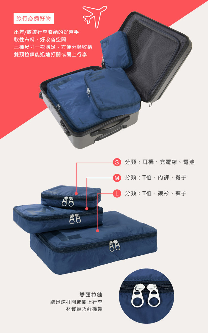 (複製)TUCANO|Adatto 旅行收納整理袋二件組(內含紅/藍各一)