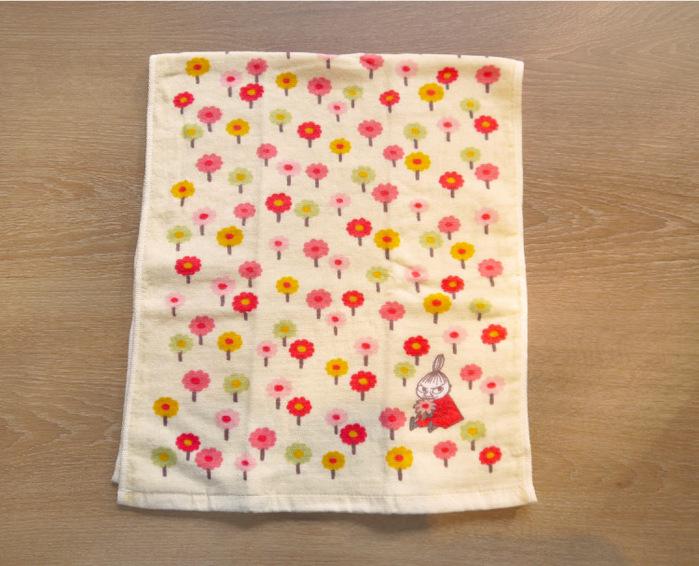日本丸真|Moomin今治紗布臉巾-小不點與花