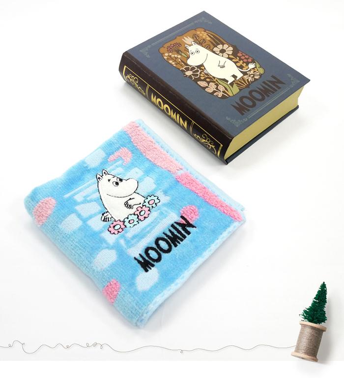 日本丸真|Moomin 方巾書本禮盒 藍