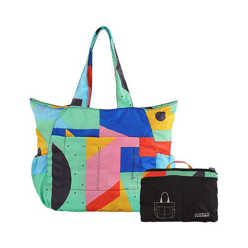 TUCANO MENDINI 超輕量折疊收納購物包-繽紛幾何