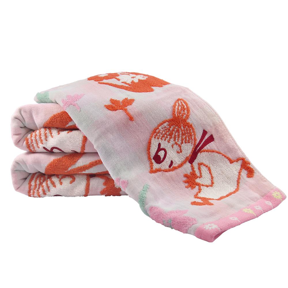 日本丸真|Moomin 無撚紗浴巾-小不點田野裡玩耍